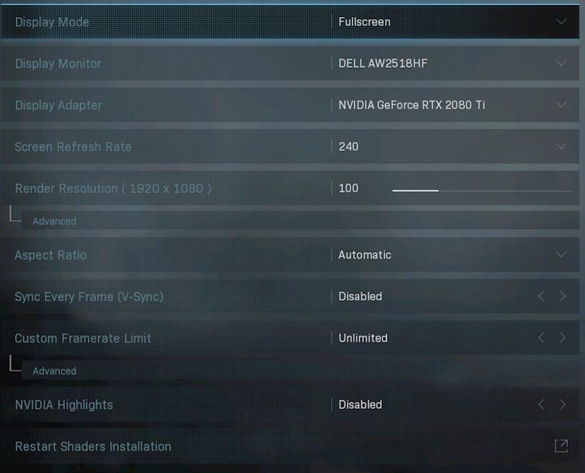 Call Of Duty Settings