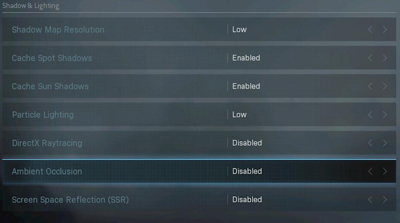 Warzone settings